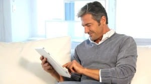 person using tablet